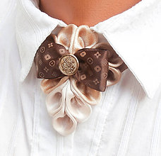 Náhrdelníky - Elegancia a la Chanel - béžový náhrdelník s mašľou a la Vuitton - 7529055_