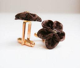 Šperky - Dark brown a la Vuitton - manžetové gombíky - 7529111_