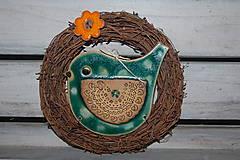 Dekorácie - Vtáčik vo venčeku č. 10 - 7526448_