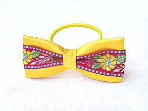 Ozdoby do vlasov - Slovak folklore hair bow (yellow/bordeaux) - 7534646_