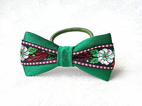 Ozdoby do vlasov - Slovak folklore hair bow (green/black) - 7534676_