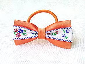 Ozdoby do vlasov - Slovak folklore hair bow (orange/white) - 7534693_
