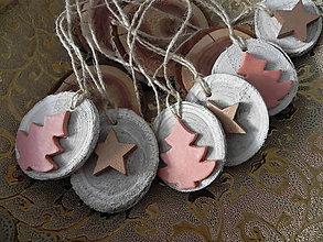 Dekorácie - Vianočné perníkové stromčeky a hviezdičky - sada - 7531732_