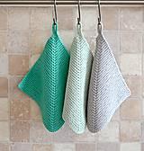 Úžitkový textil - Pletené chňapky - tyrkysové - 7531602_