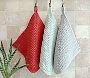Úžitkový textil - Pletené chňapky - červená/mätová/sivá - 7531706_