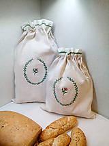 Ľanové vrecká z ručne tkaného plátna na chlieb, pečivo - sada 2 ks