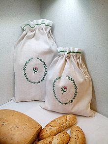 Úžitkový textil - Ľanové vrecká z ručne tkaného plátna na chlieb, pečivo - sada 2 ks - 7534829_