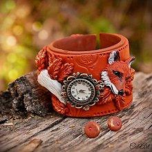 Náramky - Líška - dámska sada (hodinky a náušnice) - 7532927_