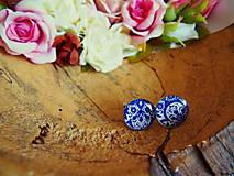 Šperky - Manžetky s bielo-modrým vzorom - 7532007_