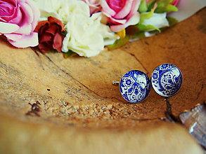 Šperky - Manžetky s bielo-modrým vzorom - 7532005_