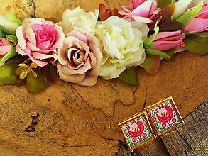 Šperky - Manžetové gombíčky s farebným folk motívom - 7532093_
