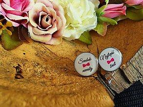 Šperky - Manžetové gombíčky pre svedka nevesty s ružovým motýlikom - 7532167_