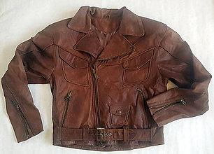 Kabáty - Klasický krivák – kožená hnedá bunda - 7533425_