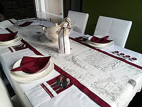 Úžitkový textil - Ľanový obrus Silent Night - 7534469_