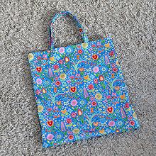 Nákupné tašky - Nákupná taška - folková záhrada tyrkysová - 7532417_