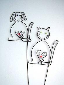 Detské doplnky - pes a mačka zápich - 7536975_