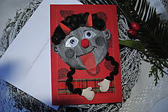 Papiernictvo - Vianočná pohľadnica Čertík... - 7537972_