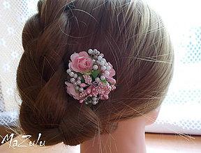 """Ozdoby do vlasov - spona do vlasov """" Vintage"""" v ružovom - 7536745_"""