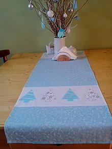 Úžitkový textil - vianočná štóla v modro bielom - 7536561_