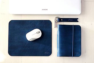 Papiernictvo - Kožený zápisník / karisblok A6 MINI BLUE - 7538034_