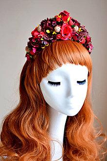 Ozdoby do vlasov - Červená čelenka z kvetin - 7535749_