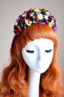 Ozdoby do vlasov - Kvetinová čelenka s kvetmi a čarnicami - 7535788_