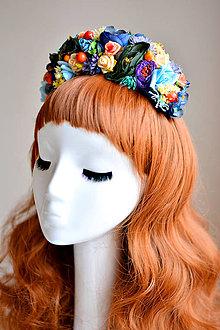 Ozdoby do vlasov - Pestrofarebná kvetinová čelenka - 7535794_