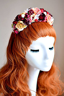 Ozdoby do vlasov - Rúžová romantická kvetinová čelenka - 7535803_