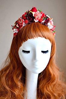 Ozdoby do vlasov - Rúžovo červená kvetinová čelenka - 7535810_