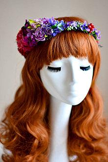 Ozdoby do vlasov - Kvetinový vlasový venček RAINBOW - 7539716_