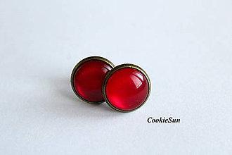Náušnice - Glamour Red (Napichovačky 12mm) - 7539604_