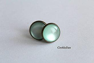 Náušnice - Napichovačky Glamour Elegance Bronze... Mint - 7539638_
