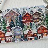 Dekorácie - Maxi tabuľka zasnežené domčeky - 7536650_