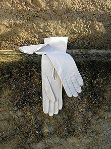 Rukavice - Bílé dámské kožené rukavice - dlouhé - 7541342_