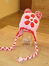 Detské čiapky - Ruzovo cerveno biela bambulkova - 7539830_