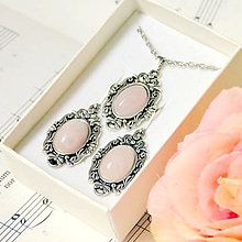Sady šperkov - Vintage Classic Silver Rose Quartz Set / Set šperkov s ružen - 7543470_