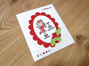 Papiernictvo - Vianočná pohľadnica - Anjelik s korčuľami - 7545882_