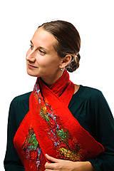 Šály - Dámsky vlnený šál, ručne plstený z jemnej Merino vlny, červený, pestrý, zimný šál, šál z plsti - 7544234_
