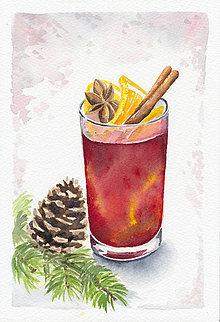 Obrazy - Vianočný punč - akvarel - 7544685_