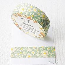 Textil - bavlnená lepiaca páska kvety I, 15 mm x 3 m - 7543860_