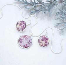Sady šperkov - Set - ručne maľované kvetinové ľanové náušnice a prívesok s retiazkou II.  - 7544753_