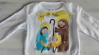 Detské oblečenie - Originalna maľba Svätej rodiny s nápisom na želanie v kométe - 7543530_