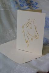 Papiernictvo - Vyšívaná pohľadnica - kôň - 7543961_
