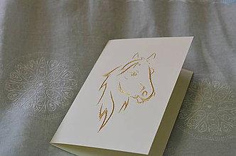 Papiernictvo - Vyšívaná pohľadnica - kôň - 7543958_