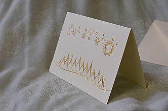 Papiernictvo - Vyšívaná pohľadnica - vianoce - 7543989_