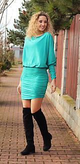 Šaty - Tyrkysové šaty s řasením - 7548576_