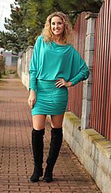 Šaty - Tyrkysové šaty s řasením - 7548577_