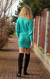 Šaty - Tyrkysové šaty s řasením - 7548579_