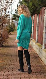 Šaty - Tyrkysové šaty s řasením - 7548580_