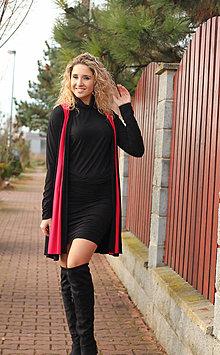 Kabáty - Černý kabátek s červeným šálovým límcem - 7549005_